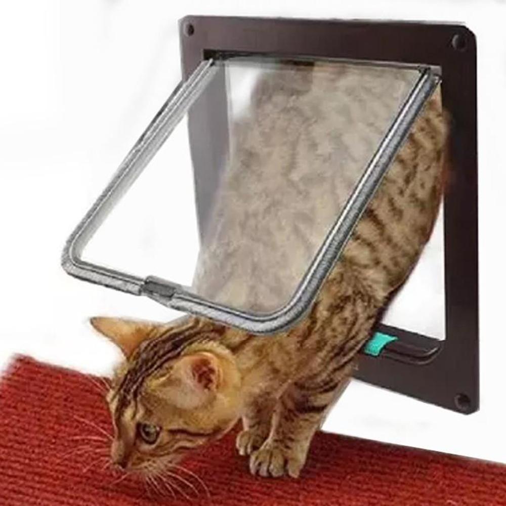 Marque nouveau petit Moyen Grand Pet Chat Porte Verrouillable Magnétique 4-Way Chats Chiens Porte du Coffre À Rabat Barrière de Sécurité ABS En Plastique