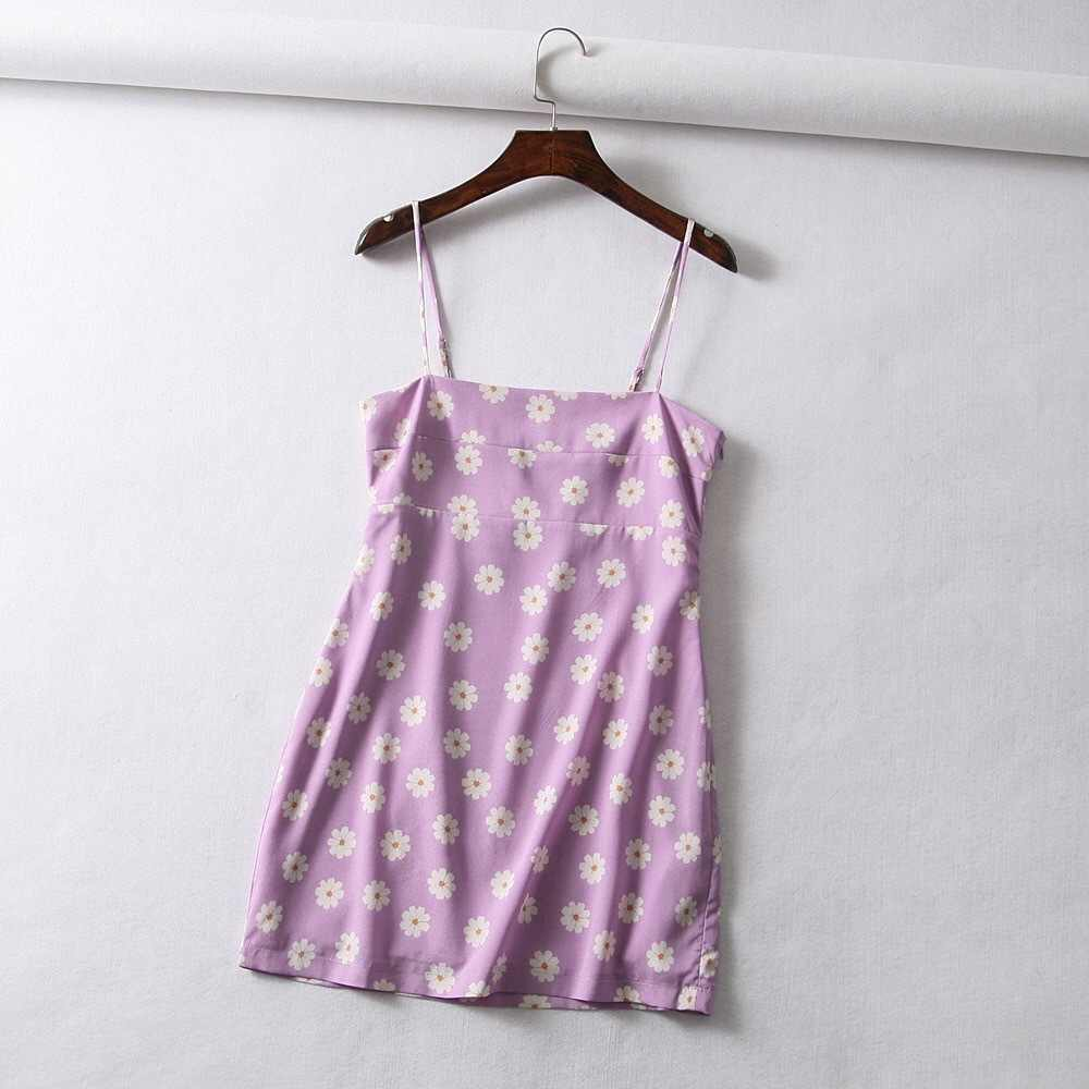 58173a83b7b98 Vintage Purple Daisy Summer Dress Adjustable Spaghetti Strap Beach dress  Women 2019 Sexy Floral Party Mini