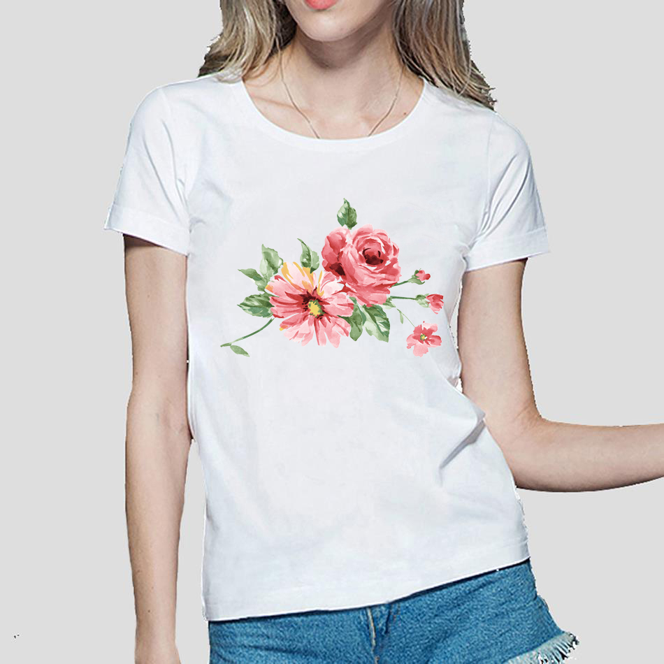 Design your own t-shirt hot pink - Chinese Style Ink Flowers Printed Kawaii Femme Tees 2017 Hot Sale Summer Women T Shirt Cotton