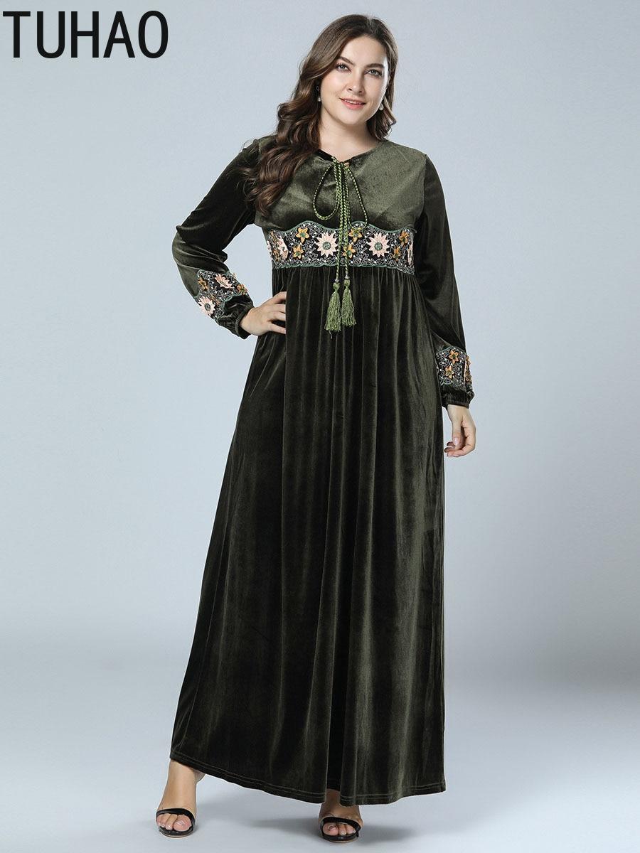 Abaya Femmes Velours Zzl Green Army Pour Longue Taille Maxi Conduites De Carburant D'hiver Vêtements Islamiques Tuhao Robe Grande Élégant Ramadan Robes Musulman TKJl1Fc