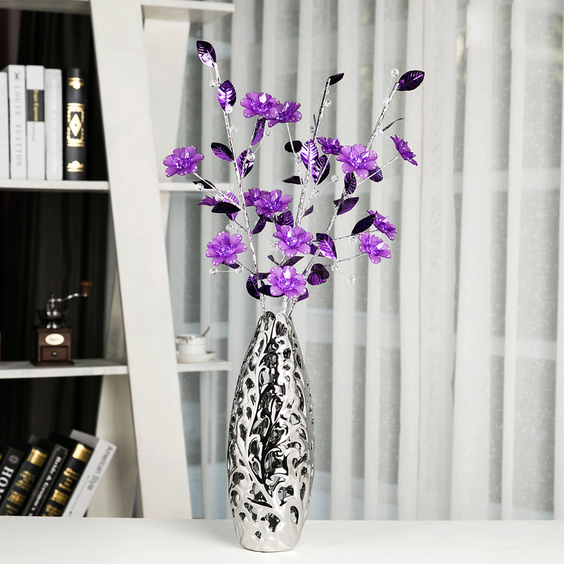 glass vases good quality fake flower decoration Crystal flower Figurines tabletop Office&home decorative accessories