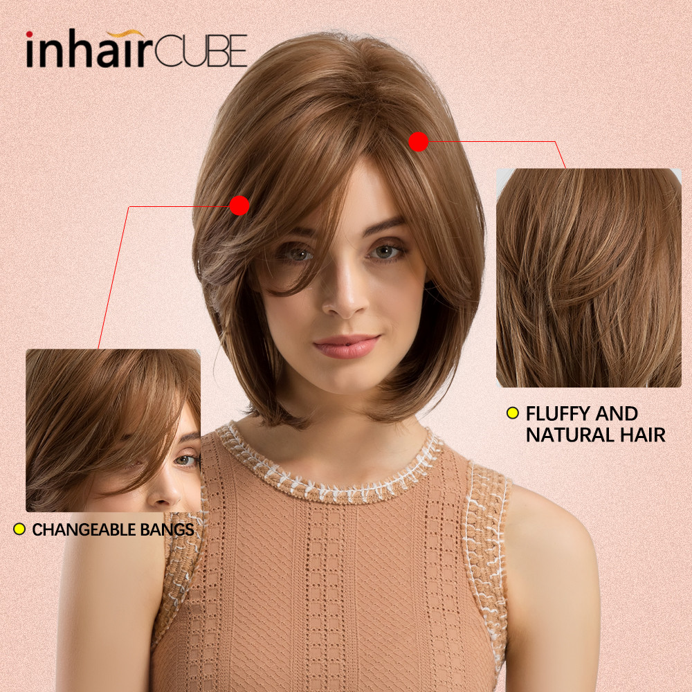 INHAIR CUBE Women Synthetic Wigs Side Parted Heat Resistant Mixed Color Straight Hair Wig Blonde Medium Length Elastic Wig Cap