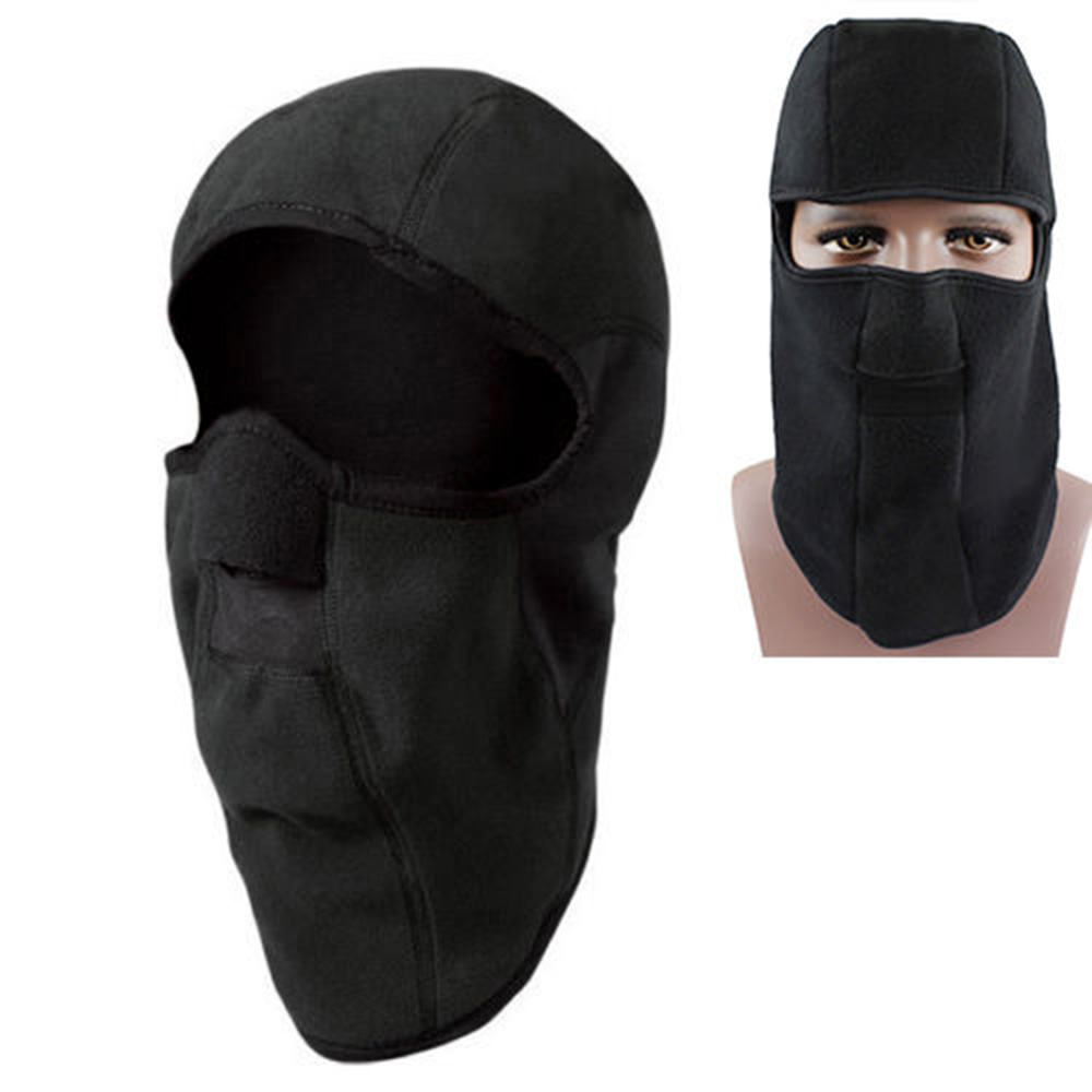 Winter Thermal Hood Fleece Balaclava Black Full Neck Face Mask Cap Cover Camping Hiking Skiing Riding Cycling Motorcycle Caps