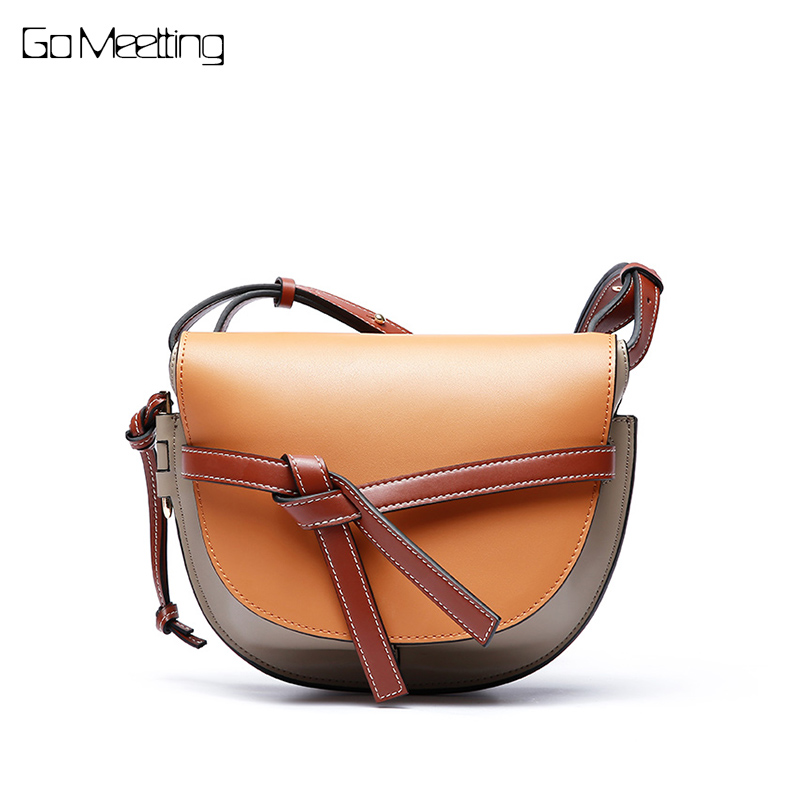 Go Meetting women shoulder bags ladies solid messenger bag female small handbag Genuine leather small saddle crossbody bag purse стоимость