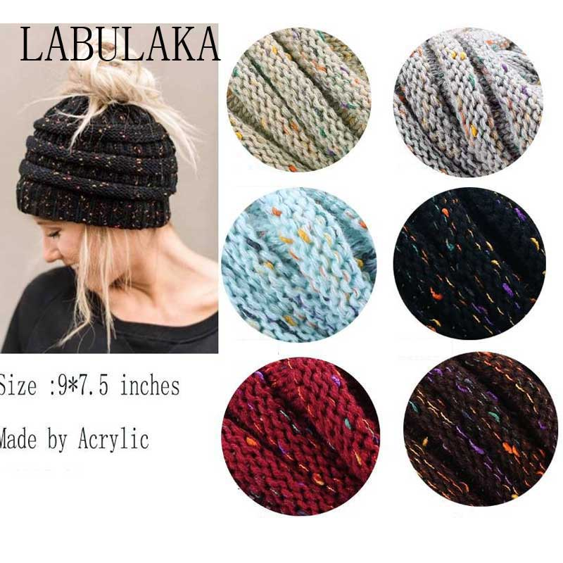 c8801b017 Warm Winter Hats For Women Ponytail Beanie Hat Stretch Cable Knit Messy Bun  Hats Holey Ladies Soft Ski Cap Crochect Beanie Caps