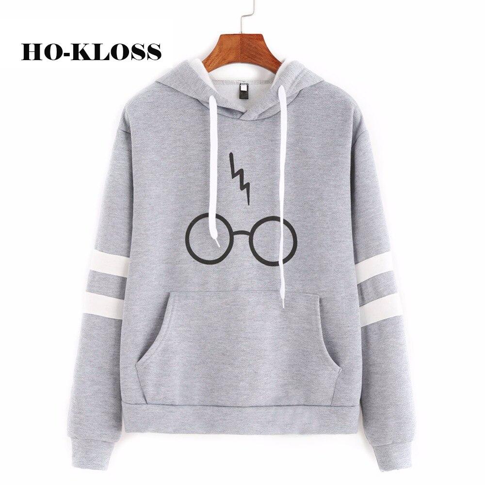 HO-KLOSS 2017 Gray Autumn Women Hoodies Girl Oval Glasses Print Sweatshirts Long Sleeve Pullovers Casual Hoodies Moleton Hooded