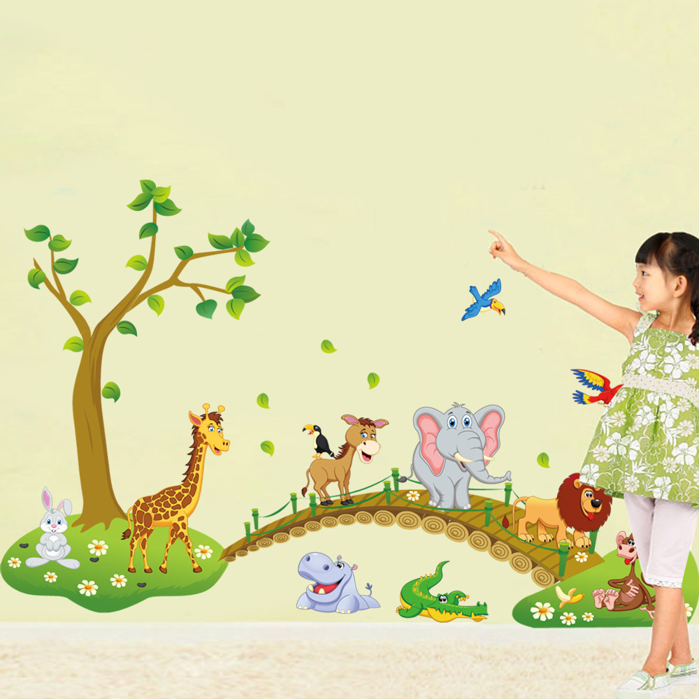 Big Jungle Animals Bridge Vinyl Wall Stickers Kids Bedroom Wallpaper ...