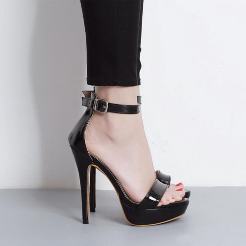 ФОТО {D&H}Shoes Woman Summer Super High Heel Women Sandals Sexy Ankle Strap High Heels 13cm Party Sandals Women 2017 New Arrivals