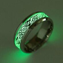 Stainless steel Luminous dragon ring fine jewelry men women Wedding Rings Fluorescent oriental dragon pattern fun ring