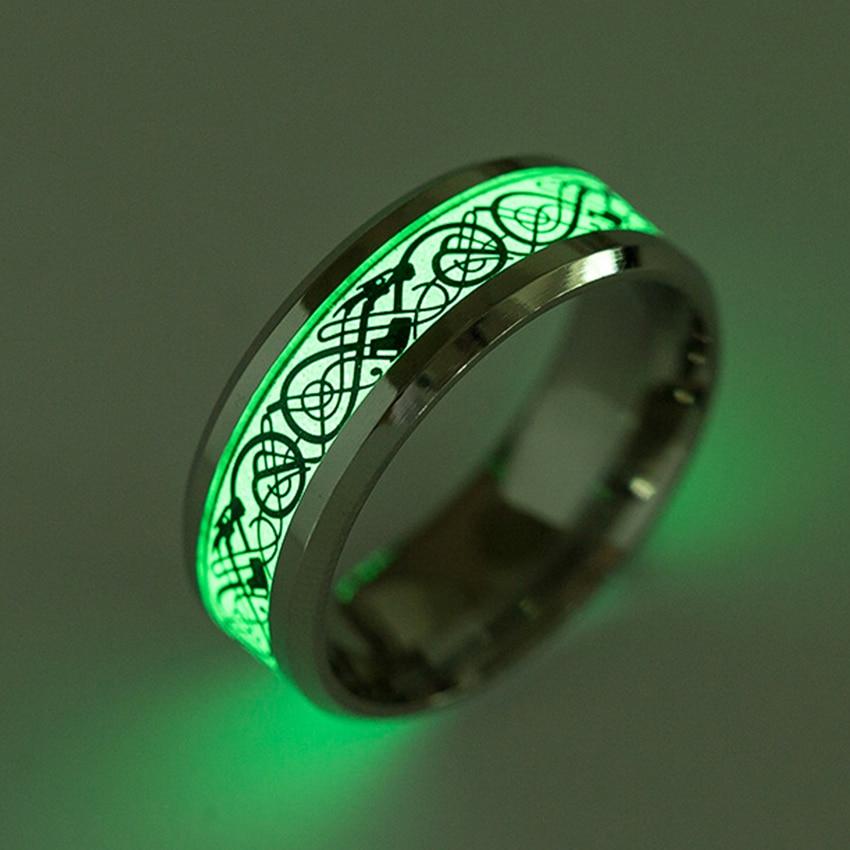 Stainless Steel Luminous Dragon Ring Fine Jewelry Men