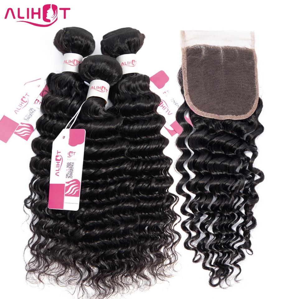 Ali Hot Hair Deep Wave Bundles With Closure Human Hair Malaysia Hair Weave 3 Bundles With
