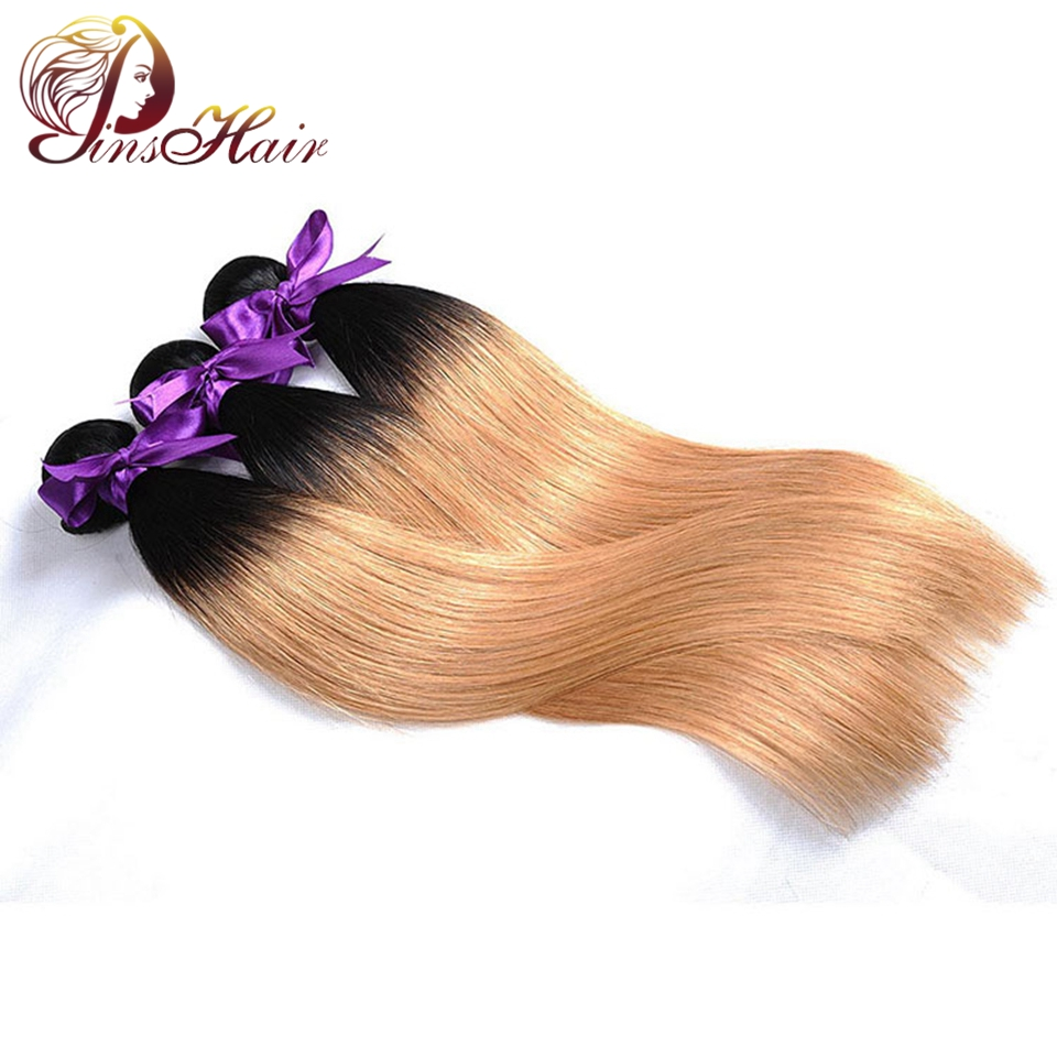 Pinshair Ombre Straight Malaysian Human Hair Bundles Dark Roots 1B 27 Honey Blonde Pre-C ...