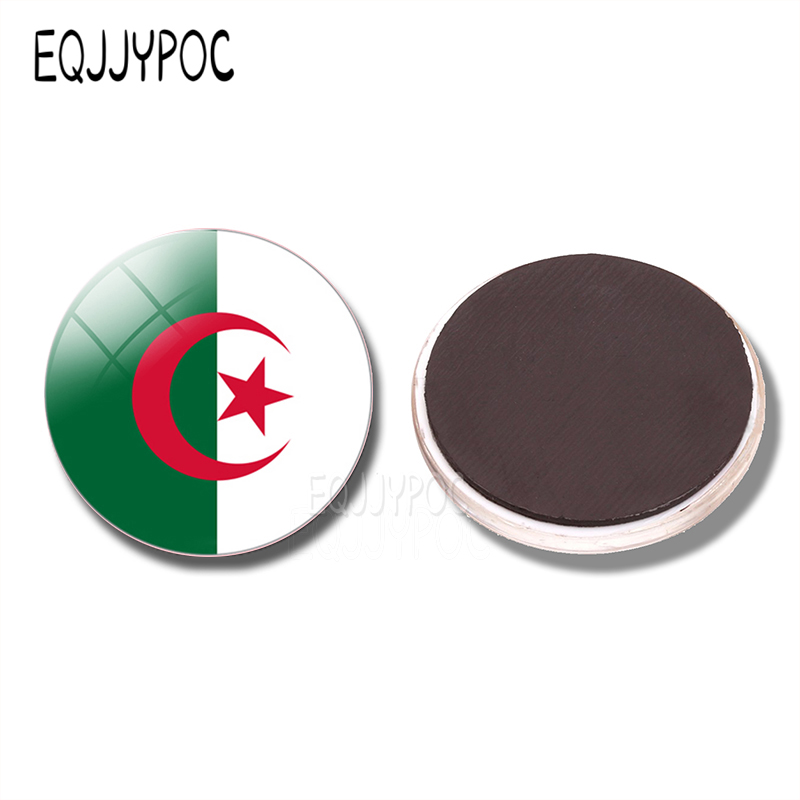 People 39 s Democratic Republic of Algeria Flag 30MM Fridge Magnet Glass North African countries Refrigerator Magnetic Stickers in Fridge Magnets from Home amp Garden