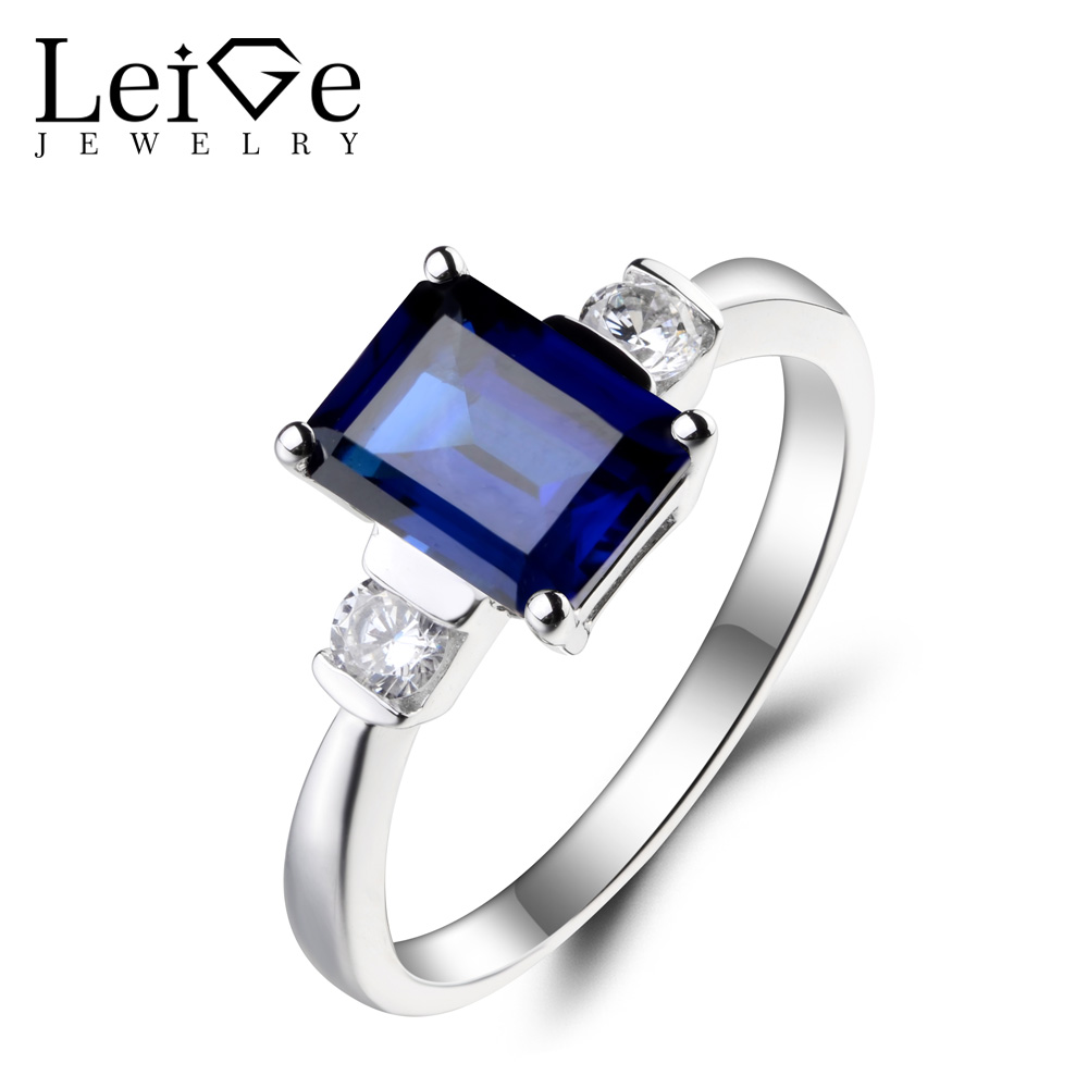 Leige Jewelry Blue Sapphire Ring Engagement Ring September Birthstone Emerald Cut Blue Gemstone Solid 925 Sterling Silver GiftsLeige Jewelry Blue Sapphire Ring Engagement Ring September Birthstone Emerald Cut Blue Gemstone Solid 925 Sterling Silver Gifts