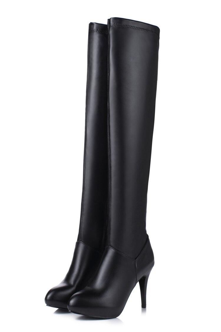 Rond Hauts Taille Bout Élégant Talon Cuir T601 Femmes 34 Grande 2016 Nouvelles En Hiver 45 Chaussures blanc Noir Bottes À Talons Loisirs Sexy tCBshxQrd