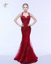 ANTI Dark Red Luxury Formal Mermaid Dresses Evening Gown Elegant Women Dress for Wedding Party Appliques Tulle Sweep Train
