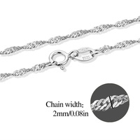 Fashion 18K Silver Plated Water Wave Chian Necklace Jewelry 16 18 Inches Link Jewelry For Women