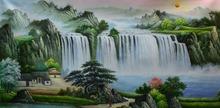 Hand Painted Modern Oil Painting on Canvas Chinese-style landscape painting Wall Art Picture for Home Decoration