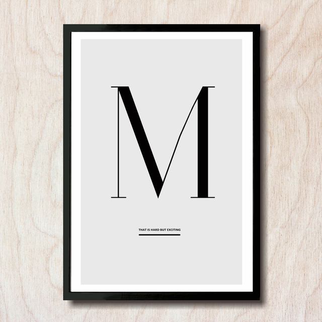 Abstract Letter M Means Motive Canvas Print Painting Nordic Style Poster Wall Art Picture