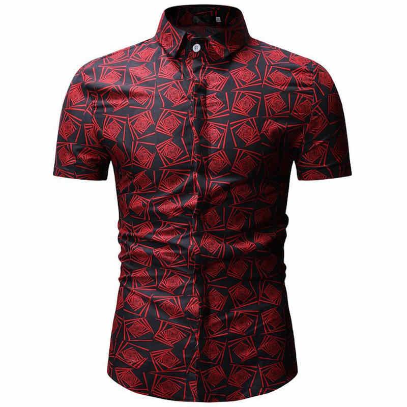 Лидер продаж, мужская летняя пляжная гавайская рубашка 2019, брендовые рубашки с коротким рукавом и цветочным принтом, мужские повседневные рубашки для отдыха и отдыха