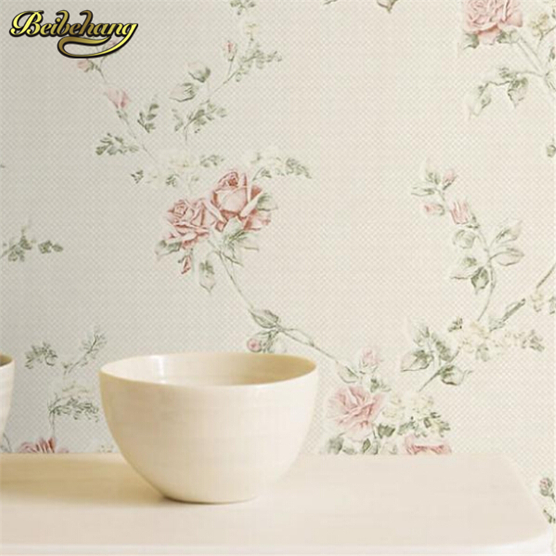 beibehang papel de parede Rustic bedroom wallpaper non woven flower wall paper background wall wallpaper roses