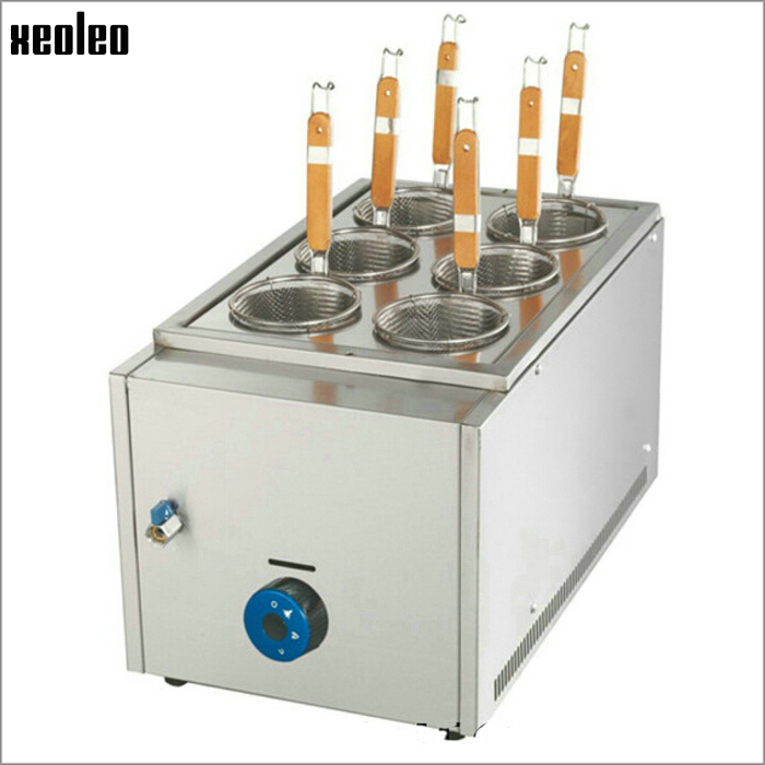 Xeoleo Commercial Gas Pasta cooker Gas noodle machine 6 heads stainless steel Pasta boiler cooker commercial gas fryer vosoco commercial electric pasta cooker electric noodle machine 2000w stainless steel pasta boiler cooker electric heating furna