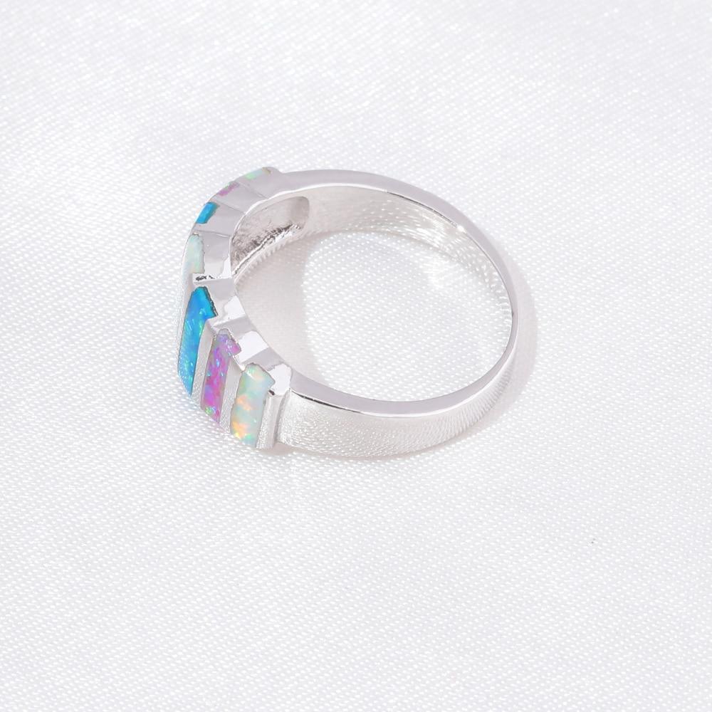 CiNily Rainbow Big Fire Opal Batu Cincin Perak Disepuh Biru Putih - Perhiasan fashion - Foto 4