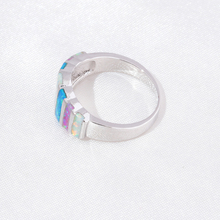 Silver Plated Rainbow Fire Opal Stone Ring