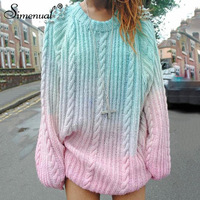 Simenual Fashion gradient women sweaters and pullovers autumn winter beading long lady's sweater knitted jumper pullover female