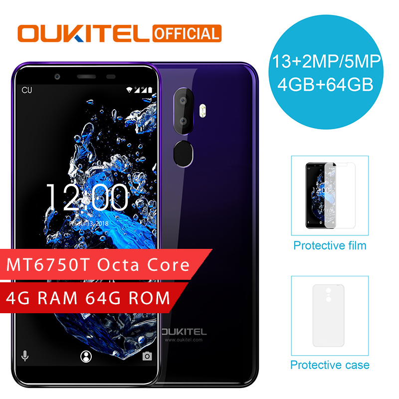 OUKITEL U25 Pro 5.5″ 2.5D Incell Display 13MP+2MP/5MP Android 8.1 Mobile Phone MT6750T Octa Core 4G 64G Fingerprint Smartphone