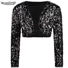 94c02a3f Vintage Women Cropped Blazer Bolero Shrug Clubwear Party Costumes Shiny  Sequin V-Neck Short Vest
