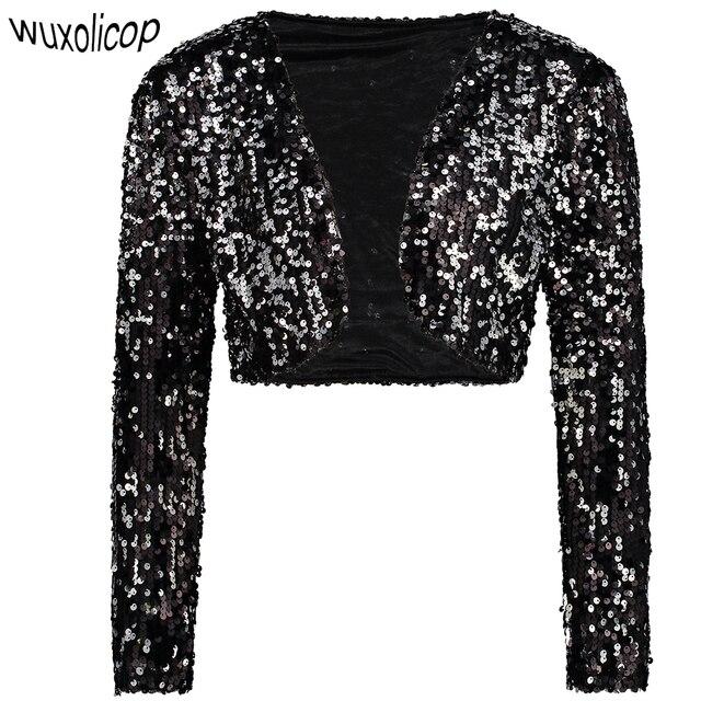 b8b31cc9f939a Vintage Femmes Blazer court Boléro Haussement D épaules Clubwear Costumes  de Fête Brillant Paillettes Col