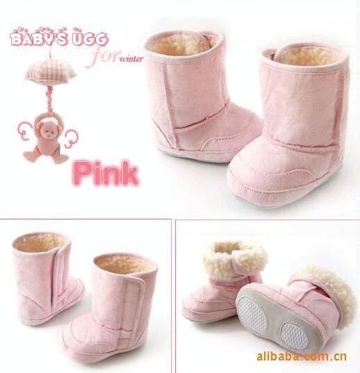 3 цвета, теплая и Милая зимняя обувь/противоскользящие детские ботинки/Обувь для малышей/обувь/Первые ходунки/Детские предходунки - Цвет: Pink