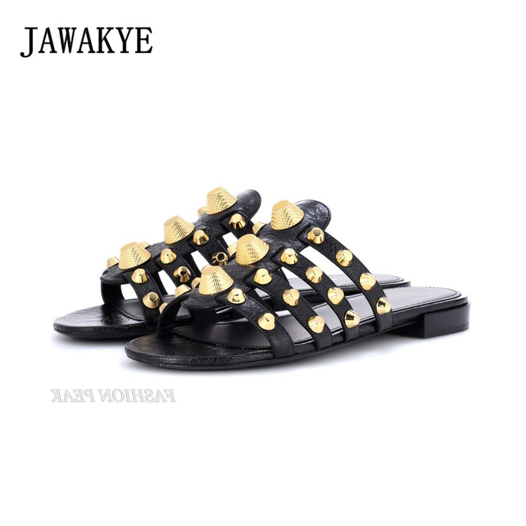 757fdfce6de1c JAWAKYE Gold Metal Studded Summer Flat Slippers Women Genuine leather girls  Outdoor Mules Flip Flop Slid Beach Flat Shoes