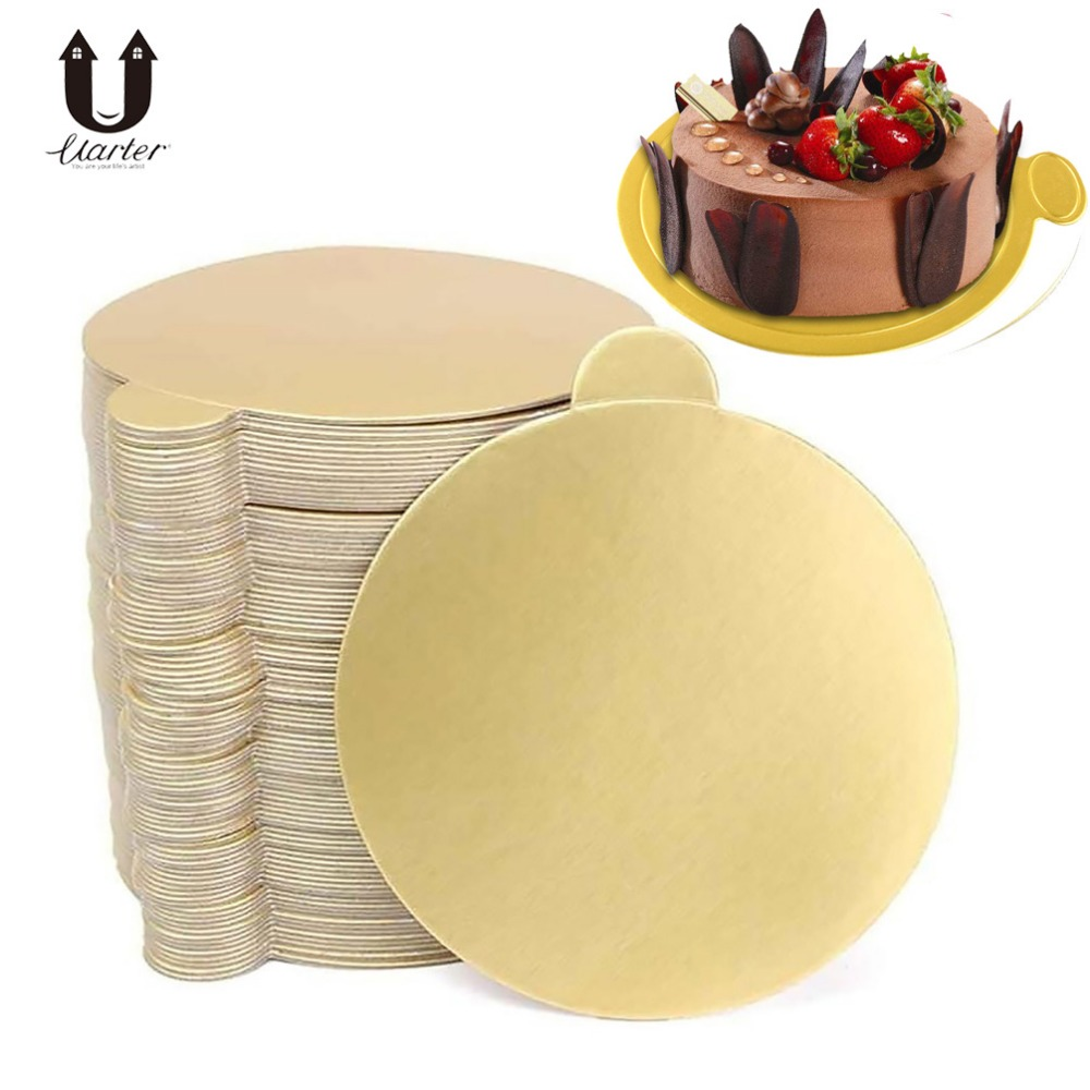 100Pcs Round Cake Base Disposable Paper Coasters Practical Cupcake Board Portable Serve Bases For Cupcake Mousse Cup