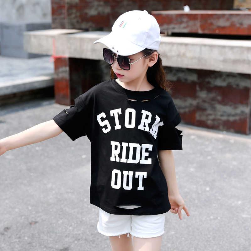 2019 T Menina Camisa Nova Verão Top Bebê Menina Roupa Dos Miúdos Camiseta T-shirt Carta Moda Para Adolescentes Adolescentes Topo Colheita crianças 7 10 12