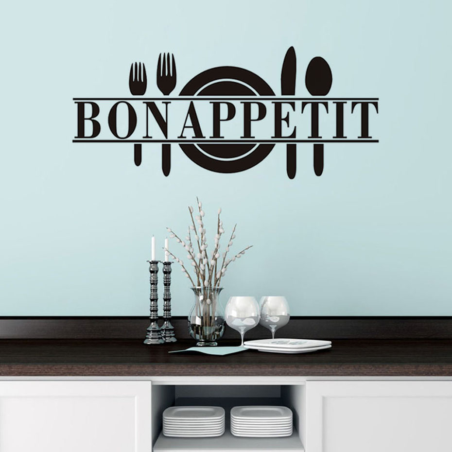 Bon Appetit Food Wall Stickers Kitchen Room Decoration Vinyl Removable Waterproof Wallpaper Living Room Dining Room Home Decor