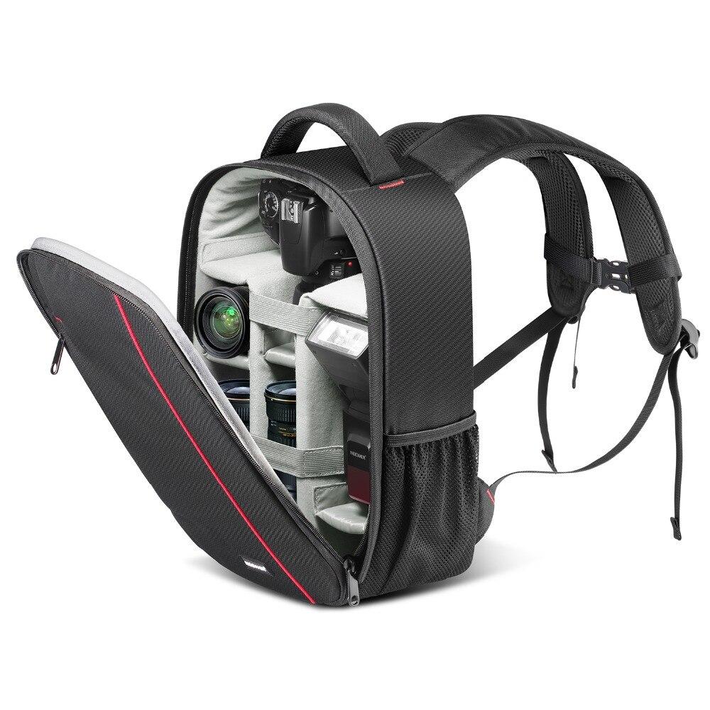 Neewer etui appareil photo professionnel sac à dos sac-étanche antichoc avec support de trépied et poche externe pour DSLR/Flash