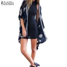 Plus Size S-4XL 2018 Summer Style Women Casual Loose Bat Half Sleeve Blouses Tops Jackets Print Kimono Cardigan Coats Outwear