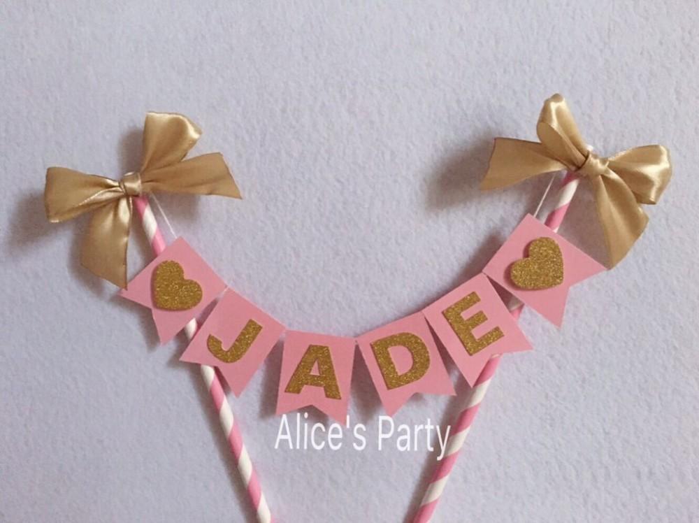 Customized Kids Name Cake Bunting Pink Gold Birthday Party Cake ...