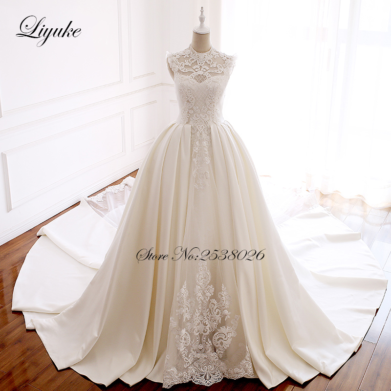 Liyuke Embroidery Strapless A-Line Wedding Dress Floral Print Lace Elegant Bridal Dress  Lace Up with Court Train