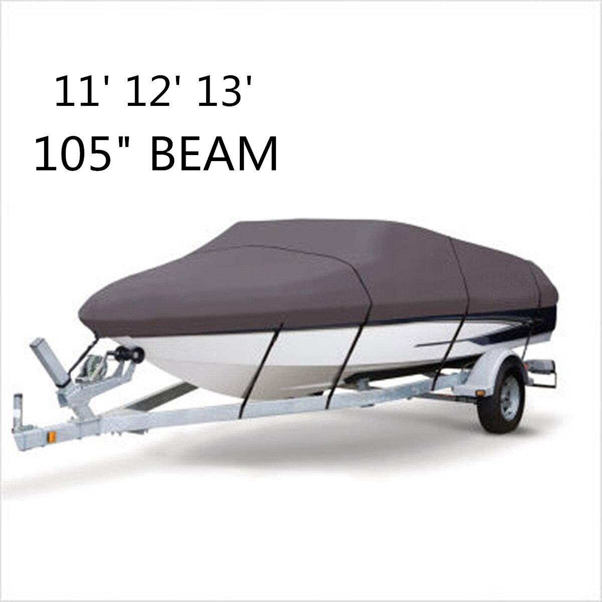 Лодка Водонепроницаемый 210D серый лодка ШВАРТОВКА ЧЕХОЛ 11 12 13 футов балка 105 дюймов trailerable рыба-лыж V- корпус сумка для хранения