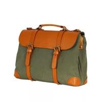 Vintage Army Green Color Designer Men Canvas Casual Satchel Bag Laptop Briefcase Male Handbag Genuine Leather Man Shoulder Bag