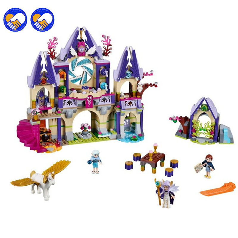 A toy A dream 809pcs BELA 10415 Compatible lepin Elves series Skyra's Mysterious Sky Castle Building Kit blocks brick 41078 2017 10415 elves azari aira naida emily jones sky castle fortress building blocks toy gift for girls compatible lepin bricks