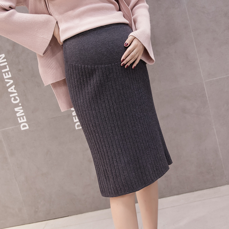 Pregnancy Clothes Casual Sweater Skirt Autumn Winter Plus Size Loose Maternity Skirt Korean Solid Jupe Femme Pregnant Women