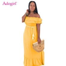 Adogirl Women Sexy Ruffle Summer Beach Dress Slash Neck Off Shoulder Loose Maxi Party Dresses Robe Long Fashion Clothing
