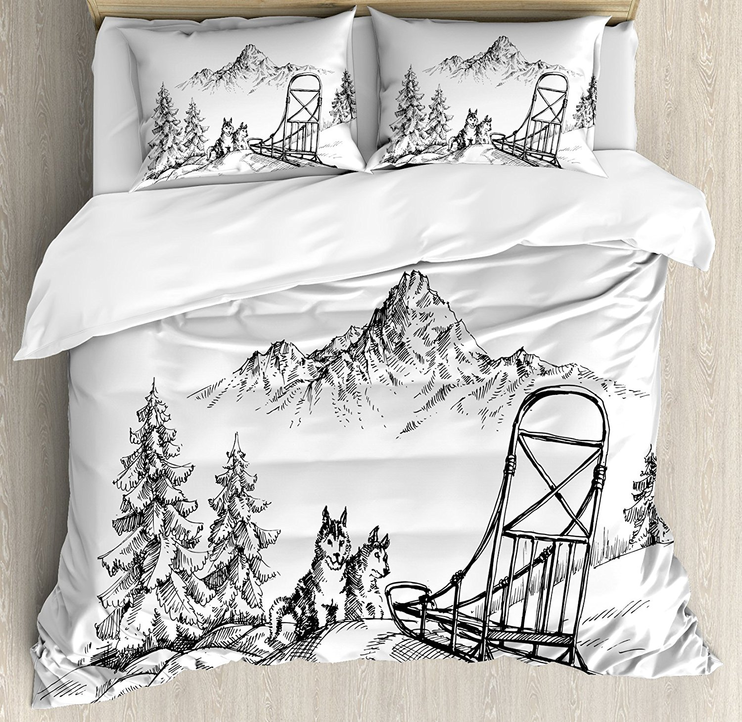 Alaskan Malamute Duvet Cover Set Mountain Landscape in Winter Sledding Dogs Pine Trees Wilderness Art Bedding