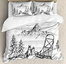 Аляскинский маламут постельное белье Горный пейзаж зимой на санках собак сосны Wilderness Книги по искусству Постельное белье черный, белый цвет