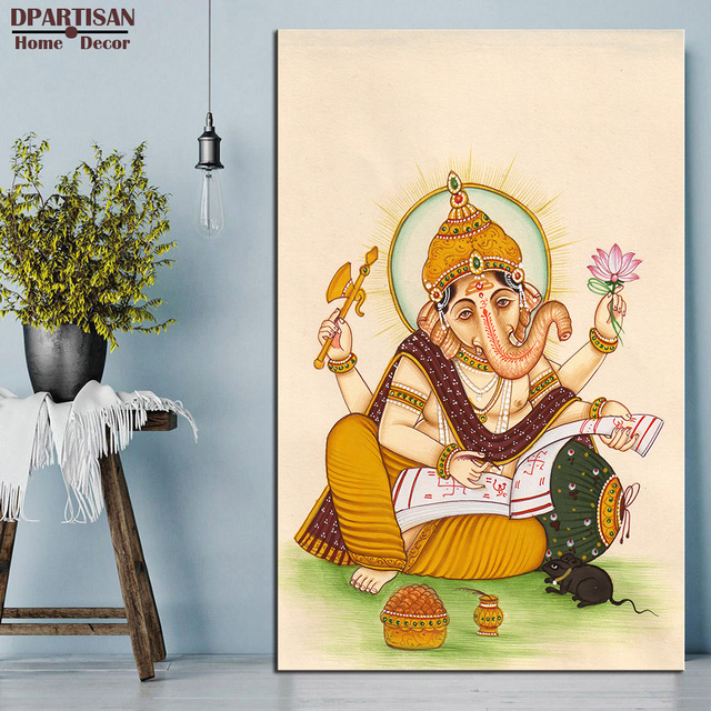 Us 11 27 6 Off Dpartisan Lord Ganesha Rat India Classic Oil Painting On Canvas Wall Pictures For Home Decorative No Frame Wall Painting Arts In