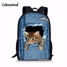 e6264a8637808 Coloranimal Sevimli Pet Köpek 3D Hayvan Kedi için Okul Çantaları kız Erkek  Mavi Denim Baskı Sırt